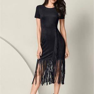 Venus Black Suede Midi Dress w/ Fringe 4